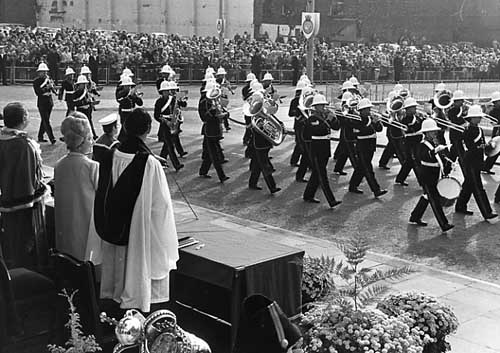 HRH Queen Elizabeth the Queen Mother in Leeds in 1973 at HMS Ark Royal's Freedom of the City Parade