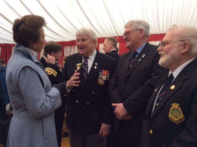 Shipmate John Rance and Shipmate Bob Holt talk to HRH Princess Anne at HMS Ceres Commissioning Ceremony